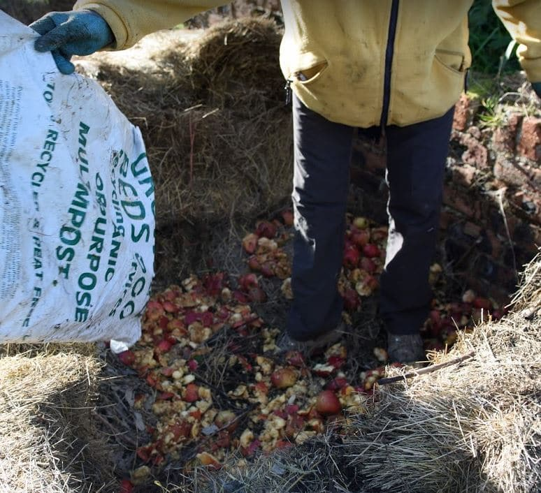 Filling the hay bale compost bin