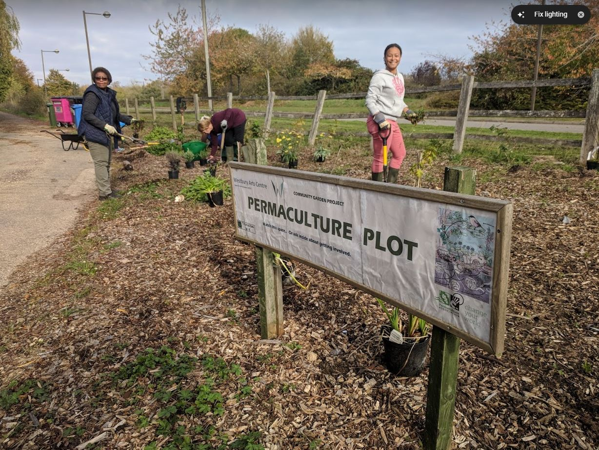 Volunteers Planting Up the Forest Garden Demo Plot