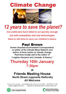 South Beds FOE poster for climate change talk