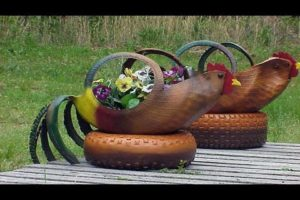 bird tyre planters