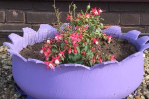 blooming petal tyre planter