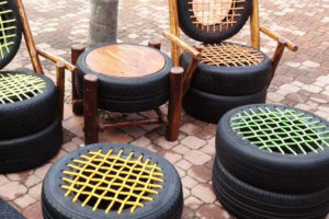 tyre outdoor furniture using rope