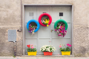 Growing flowers in tyres on the wall